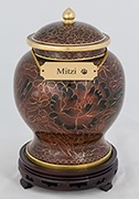 This elegant urn is an example of what's available to hold cremains following pet cremation.