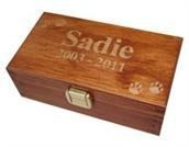 This simple engraved box is an example of what's available to hold cremains following pet cremation.
